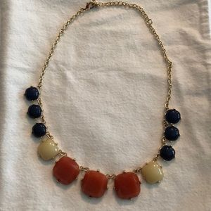 Orange/Navy/Cream statement necklace